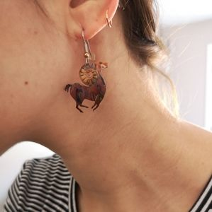 Jewelry - Aries, rams, fired copper earrings - artisan made